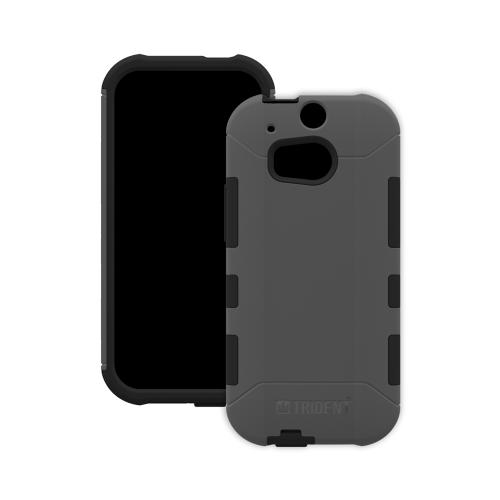 Trident Gray/ Black Aegis Series Hard Cover on Silicone Case w/ Screen Protector for HTC One (M8) - AG-HTC-M8-GY