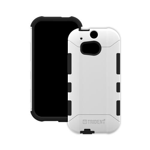 Trident White/ Black Aegis Series Hard Cover on Silicone Case w/ Screen Protector for HTC One (M8) - AG-HTC-M8-WT