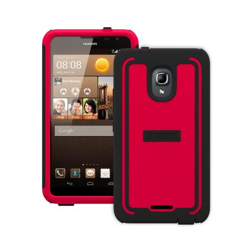 Trident Red/ Black Cyclops Series Thermo Poly Elastomer (super Tough) Hard Case W/ Built-in Screen Protector For Huawei Ascend Mate 2 4g