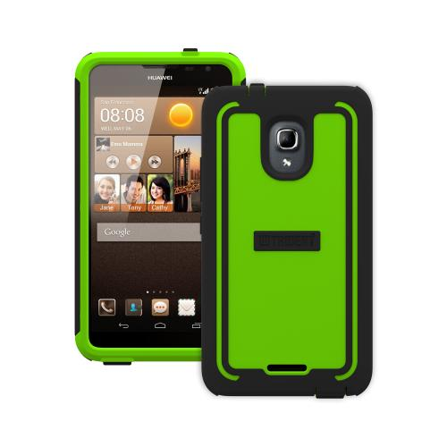 Trident Lime Green/ Black Cyclops Series Thermo Poly Elastomer (super Tough) Hard Case W/ Built-in Screen Protector For Huawei Ascend Mate 2 4g