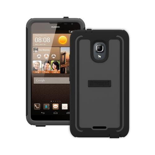 Trident Gray/ Black Cyclops Series Thermo Poly Elastomer (super Tough) Hard Case W/ Built-in Screen Protector For Huawei Ascend Mate 2 4g