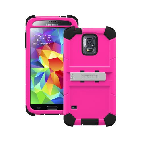 Galaxy S5 Dual Layer Case by Trident | [Hot Pink] Kraken AMS Rugged Hard Polycarbonate On Silicone Hybrid Case W/ Built-in Screen Protector