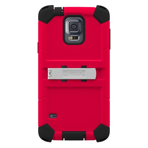 Galaxy S5 Dual Layer Case by Trident | [Red] Kraken AMS Series Featuring Hard Polycarbonate On Silicone Hybrid Case w/ Built-in Screen Protector