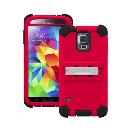 Trident Red/ Black Kraken AMS Series Hard Case on Silicone w/ Built-In Screen Protector & Holster for Samsung Galaxy S5 - KN-SSGXS5-RD000