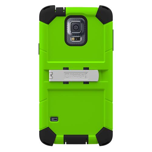 Galaxy S5 Dual Layer Case by Trident | [Lime Green] Kraken AMS Rugged Hard Polycarbonate On Silicone Hybrid Case W/ Built-in Screen Protector