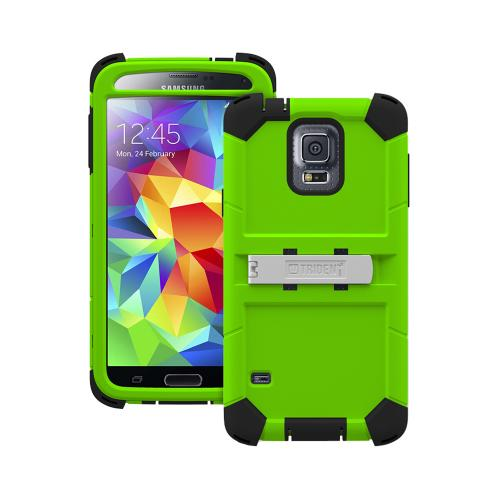 Trident Lime Green/ Black Kraken AMS Series Hard Case on Silicone w/ Built-In Screen Protector & Holster for Samsung Galaxy S5 - KN-SSGXS5-TG000