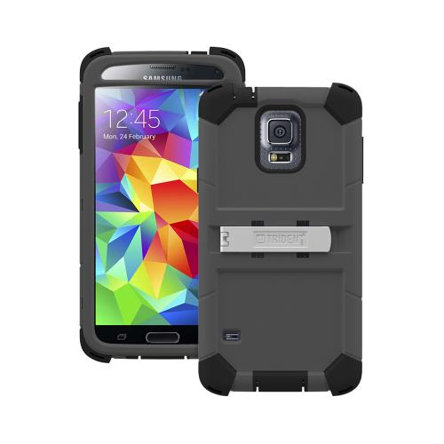Trident Gray/ Black Kraken AMS Series Hard Case on Silicone w/ Built-In Screen Protector & Holster for Samsung Galaxy S5 - KN-SSGXS5-GY000
