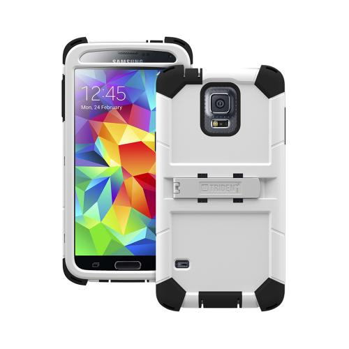 Trident White/ Black Kraken AMS Series Hard Case on Silicone w/ Built-In Screen Protector & Holster for Samsung Galaxy S5 - KN-SSGXS5-WT000