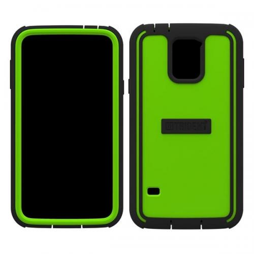 Trident Lime Green/ Black Cyclops Series Thermo Poly Elastomer (super Tough) Hard Case W/ Built-in Screen Protector For Samsung Galaxy S5 -