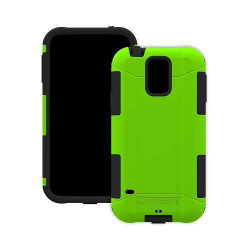 Trident Lime Green/ Black Aegis Series Hard Cover Over Silicone Skin Case w/ Screen Protector for Samsung Galaxy S5 - AG-SSGXS5-TG000