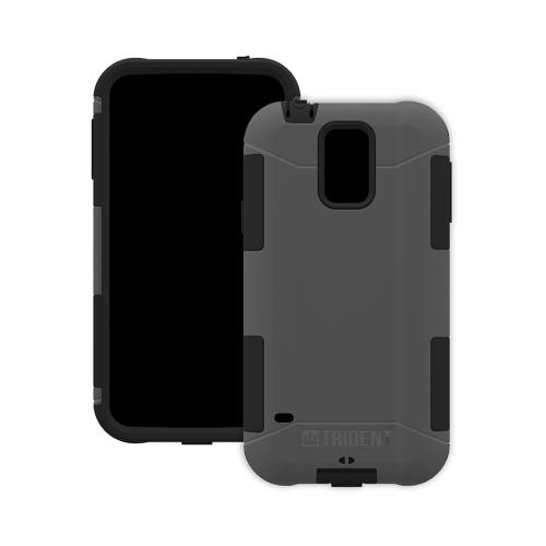 Trident Gray/ Black Aegis Series Hard Cover Over Silicone Skin Case w/ Screen Protector for Samsung Galaxy S5 - AG-SSGXS5-GY000