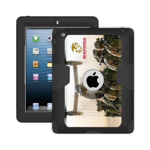 Trident U.S. Marines Military Kraken AMS Series Hard Cover on Silicone Skin Case w/ Built-In Screen Protector for Apple iPad 2/3/4 - KN-APIPDNUBKK03