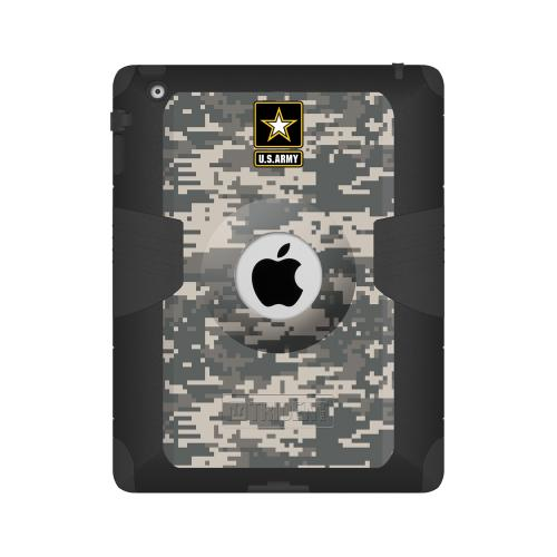 Trident U.s. Army Military Kraken Ams Series Gray Digital Camo Hard Case On Silicone Skin Case W/ Built-in Screen Protector For Apple Ipad 2/3/4
