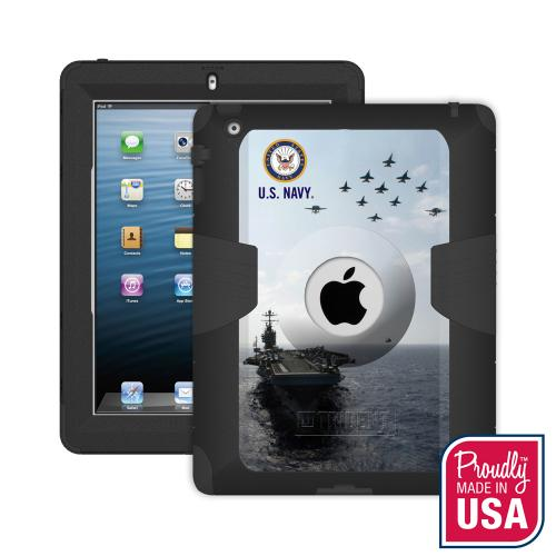 Trident U.S. Navy Military Kraken AMS Series Hard Cover on Silicone Skin Case w/ Built-In Screen Protector for Apple iPad 2/3/4 -KN-APIPDNUBKK07