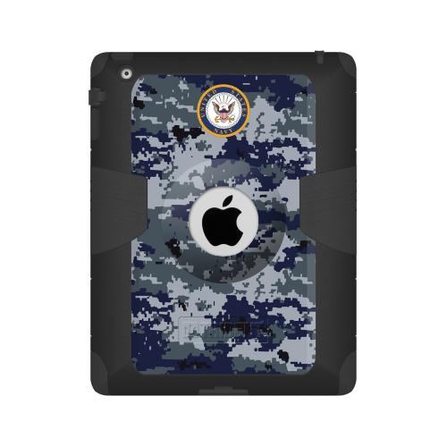 Trident U.s. Navy Military Kraken Ams Series Blue Digital Camo Hard Case On Silicone Skin Case W/ Built-in Screen Protector For Apple Ipad 2/3/4