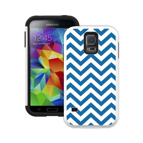 Trident Blue Peak Zig Zags on White Aegis Design Series Hard Cover Over Silicone Skin Case w/ Screen Protector for Samsung Galaxy S5 - AG-SSGXS5-WT013