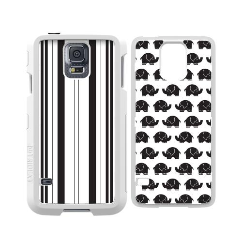 Trident White Apollo Series Hard Case Shell W/ 2 Interchangeable Plates (stripes And Elephants) & Screen Protector For Samsung Galaxy S5