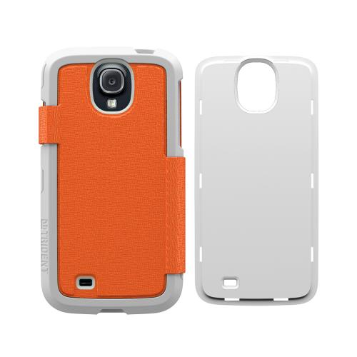 Trident Orange Apollo Folio Series Diary Hard Case w/ Foldable Front Cover & Screen Protector for Samsung Galaxy S4 - AP-SSGXS4-WTF02