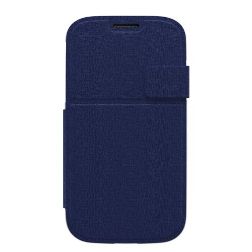 Trident Navy Blue Apollo Folio Series Diary Hard Case w/ Foldable Front Cover & Screen Protector for Samsung Galaxy S4 - AP-SSGXS4-WTF03
