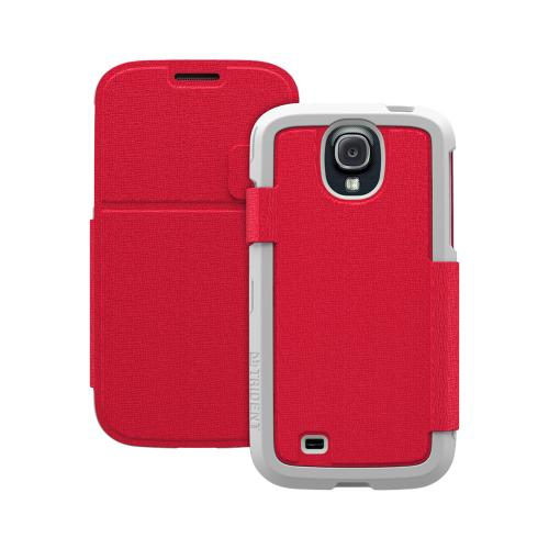 Trident Red Apollo Folio Series Diary Hard Case w/ Foldable Front Cover & Screen Protector for Samsung Galaxy S4 - AP-SSGXS4-WTF05