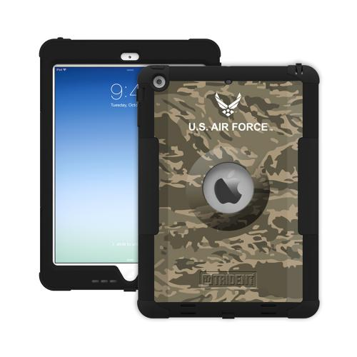 Trident U.S. Air Force Military Kraken AMS Green Camo Series Hard Cover on Silicone Skin Case w/ Built-In Screen Protector for Apple iPad Air - KN-APIPAR-BKK02