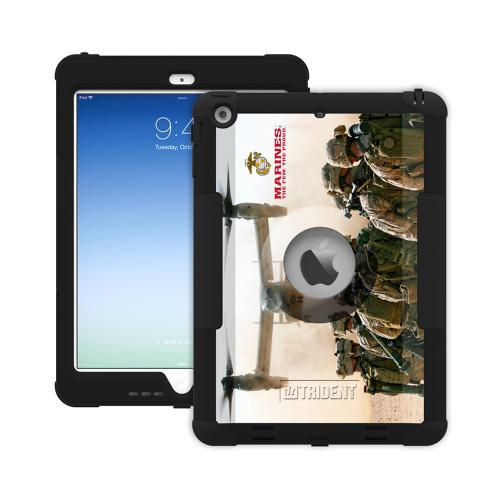 Trident U.S. Marines Military Kraken AMS Series Hard Cover on Silicone Skin Case w/ Built-In Screen Protector for Apple iPad Air - KN-APIPAR-BKK03