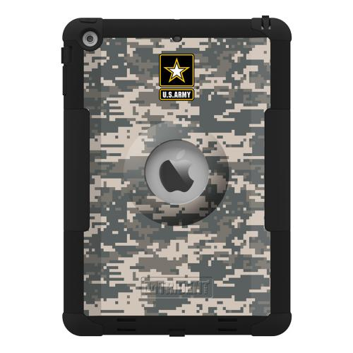 Trident U.S. Army Military Kraken AMS Series Gray Digital Camo Hard Cover on Silicone Skin Case w/ Built-In Screen Protector for Apple iPad Air - KN-APIPAR-BKK06