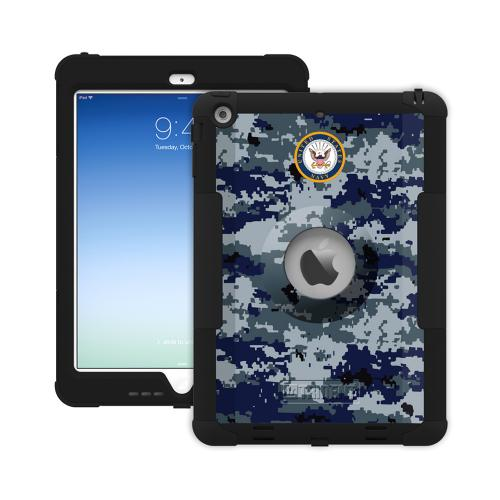 Trident U.S. Navy Military Kraken AMS Series Blue Digital Camo Hard Cover on Silicone Skin Case w/ Built-In Screen Protector for Apple iPad Air - KN-APIPAR-BKK08