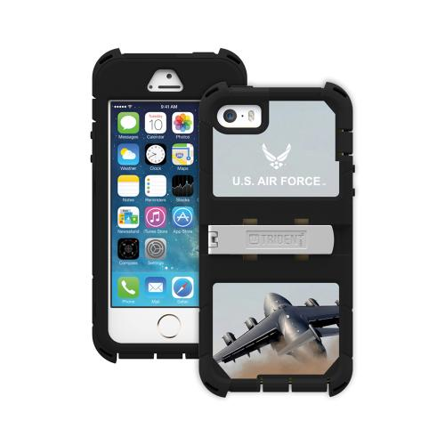 Apple iPhone SE / 5 / 5S  Case, Trident [U.S. Air Force Military] KRAKEN AMS RAMPAGE Series Hard Cover on Silicone Skin Case w/ Built-In Screen Protector & Holster - KN-APIP5S-BKK01