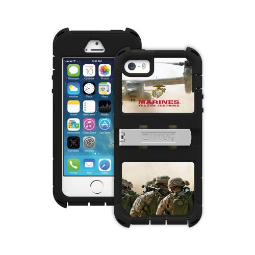 Apple iPhone SE / 5 / 5S  Case, Trident [U.S. Marines Military] KRAKEN AMS RAMPAGE Series Hard Cover on Silicone Skin Case w/ Built-In Screen Protector & Holster - KN-APIP5S-BKK03