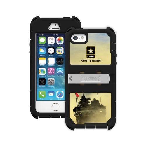 Apple iPhone SE / 5 / 5S  Case, Trident [U.S. Army Military] KRAKEN AMS RAMPAGE Series Hard Cover on Silicone Skin Case w/ Built-In Screen Protector & Holster - KN-APIP5S-BKK05