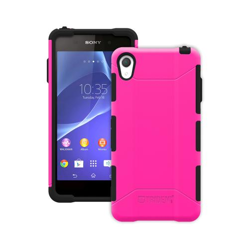 Trident Hot Pink/ Black Sony Xperia Z2 Aegis Series Hard Cover Over Silicone Skin Case w/ Screen Protector {AG-SYXPZ2-PK000} - Great Alternative to Otterbox!