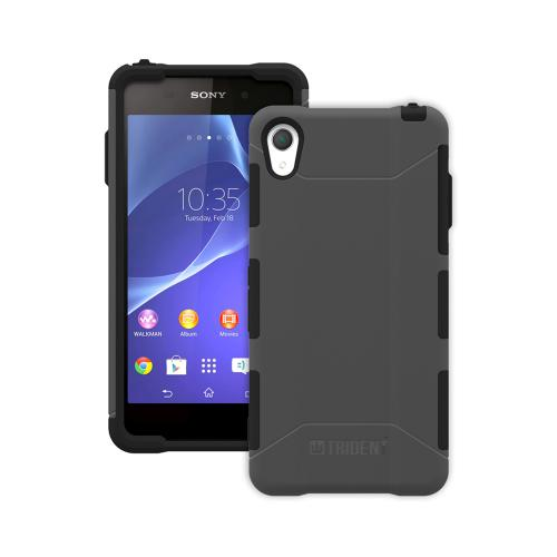 Trident Gray/ Black Sony Xperia Z2 Aegis Series Hard Cover Over Silicone Skin Case w/ Screen Protector {AG-SYXPZ2-GY000} - Great Alternative to Otterbox!