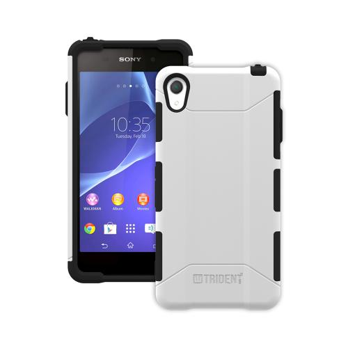 Trident White/ Black Sony Xperia Z2 Aegis Series Hard Cover Over Silicone Skin Case w/ Screen Protector {AG-SYXPZ2-WT000} - Great Alternative to Otterbox!