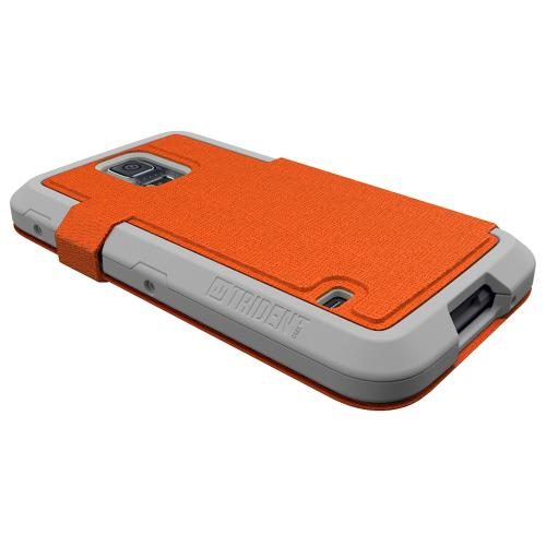 Trident Orange/ White Samsung Galaxy S5 Apollo Folio Series Diary Hard Case w/ Foldable Front Cover & Screen Protector {AP-SSGXS5-WTF02} - Slim Yet Durable Protection!