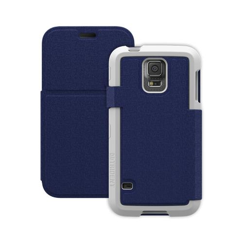 Trident Navy/ White Samsung Galaxy S5 Apollo Folio Series Diary Hard Case w/ Foldable Front Cover & Screen Protector {AP-SSGXS5-WTF03} - Slim Yet Durable Protection!