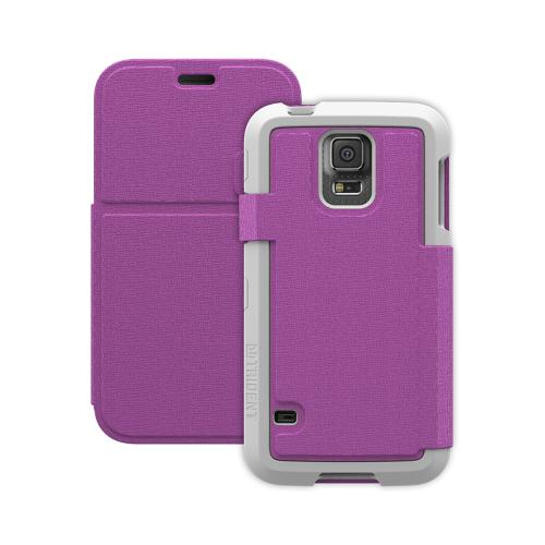 Trident Purple/ White Samsung Galaxy S5 Apollo Folio Series Diary Hard Case w/ Foldable Front Cover & Screen Protector {AP-SSGXS5-WTF04} - Slim Yet Durable Protection!