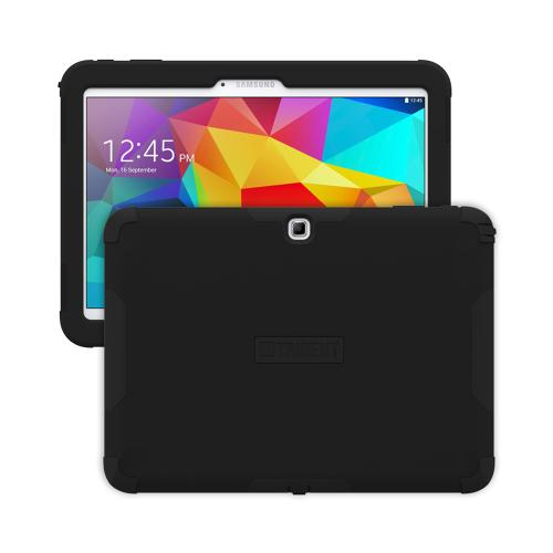 Trident Black Samsung Galaxy Tab 4 10.1 Aegis Series Hard Cover Over Silicone Skin Case w/ Screen Protector {AG-SSGXT4-BK000} - Great Alternative to Otterbox!