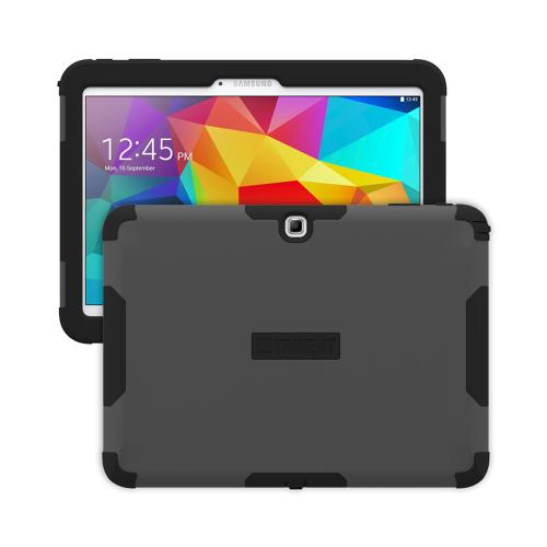 Trident Grey/ Black Samsung Galaxy Tab 4 10.1 Aegis Series Hard Cover Over Silicone Skin Case w/ Screen Protector {AG-SSGXT4-GY000} - Great Alternative to Otterbox!