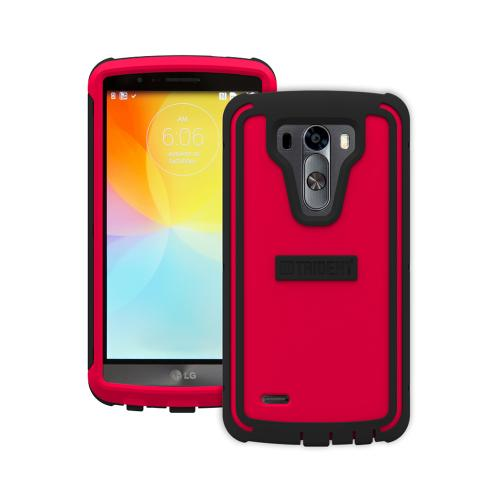 Trident Red/ Black Lg G3 Cyclops Series Thermo Poly Elastomer (super Tough) Hard Case W/ Built-in Screen Protector - Amazing Protection!