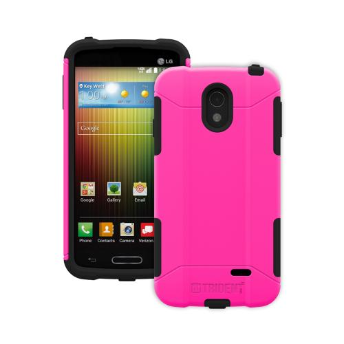 Trident Hot Pink/ Black Lg Lucid 3 Aegis Series Hard Case Over Silicone Skin Case W/ Screen Protector - Great Alternative To Otterbox!