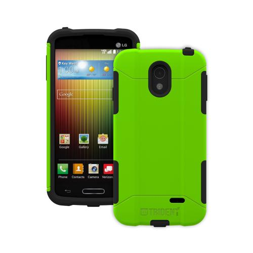 Trident Lime Green/ Black Lg Lucid 3 Aegis Series Hard Case Over Silicone Skin Case W/ Screen Protector - Great Alternative To Otterbox!