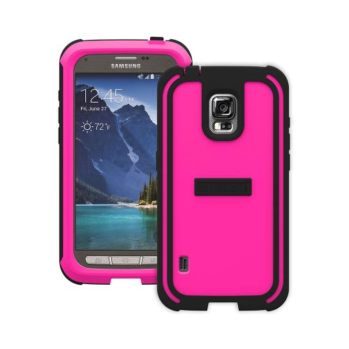 Trident Hot Pink/ Black Samsung Galaxy S5 Active Cyclops Series Thermo Poly Elastomer (super Tough) Hard Case W/ Built-in Screen Protector