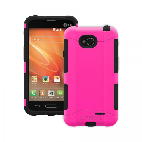 Trident Hot Pink/ Black Lg Optimus Exceed 2 Aegis Series Hard Case Over Silicone Skin Case W/ Screen Protector  - Great Alternative To Otterbox!
