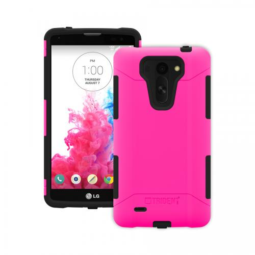 Trident Hot Pink/ Black Lg G Vista Aegis Series Hard Case Over Silicone Skin Case W/ Screen Protector  - Great Alternative To Otterbox!