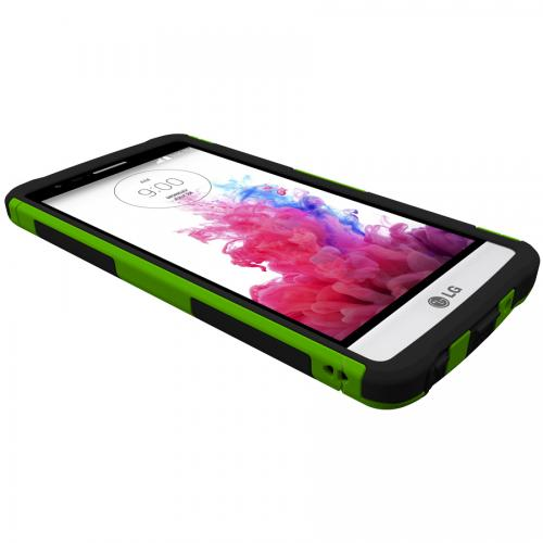 Trident Lime Green/ Black Lg G3 Mini Aegis Series Hard Case Over Silicone Skin Case W/ Screen Protector  - Great Alternative To Otterbox!