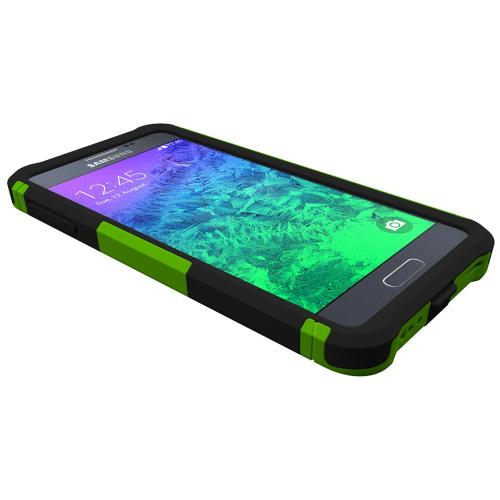 Trident Lime Green/ Black Samsung Galaxy Alpha Aegis Series Hard Case Over Silicone Skin Case W/ Screen Protector  - Great Alternative To Otterbox!