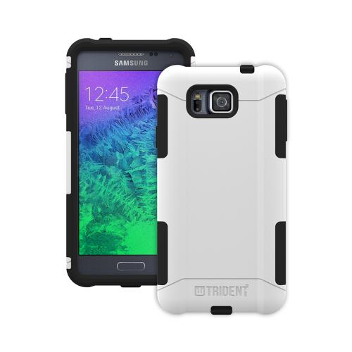 Trident White/ Black Samsung Galaxy Alpha Aegis Series Hard Case Over Silicone Skin Case W/ Screen Protector - Great Alternative To Otterbox!