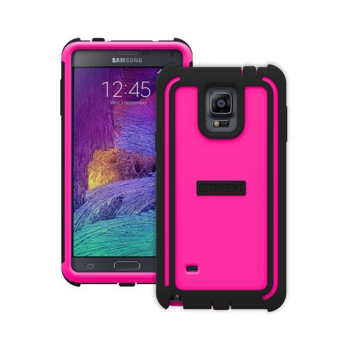 Samsung Galaxy Note 4 Case, Trident [Hot Pink/ Black] CYCLOPS Series Slim & Rugged Dual Layer Bumper Hybrid Case w/ Built-in Screen Protector