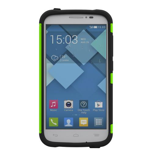 Onetouch Pop C7 Case, Trident [lime Green / Black] Aegis Series Slim & Rugged Hard Case Over Silicone Skin Dual Layer Hybrid Case/ Screen Protector